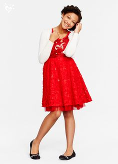Bright red and covered in sequins, this dress has major holiday wow-factor!