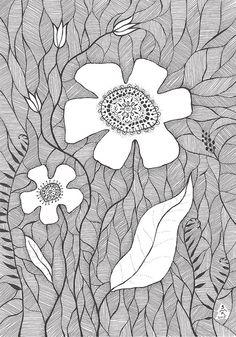 Original ink drawing of flowers. Black and white floral by siret