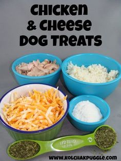 This chicken rice & cheese dog treat recipe is a tasty treat that all dogs will love and it is a better choice for dogs with calcium oxalate stones.