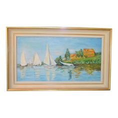 Image of Sailboats on the Water Vintage Oil Painting