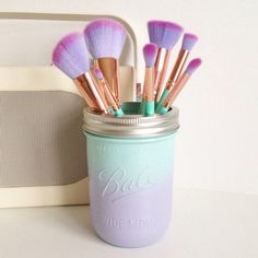 Mermaid ombre Ball mason jar with silver lid - makeup brush holder, vase, desk tidy by TillySage on Etsy https://www.etsy.com/uk/listing/493988712/mermaid-ombre-ball-mason-jar-with-silver