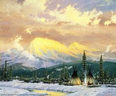 """Lingering Dusk1983      """"I discovered some of my most favorite subjects early on in my career; majestic mountains bathed in the dramatic light of sunset, humble homes nestled in a tranquil natural setting. They're all here in Lingering Dusk.""""  -Thomas Kinkade"""