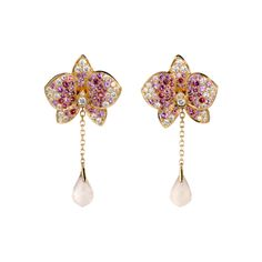 Caresse d'orchidées par Cartier earrings             Pink gold, diamonds, coloured stones                     REF:     N8044000