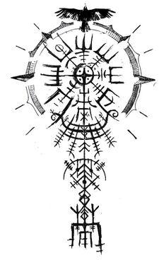 Viking Compass Tattoo, Viking Tattoo Sleeve, Compass Tattoo Design, Sleeve Tattoos, Rune Tattoo, Norse Tattoo, Celtic Tattoos, Viking Tattoos, Arte Viking