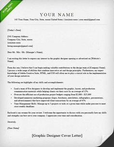 Cover Letter Template Graphic Design
