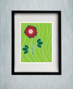 Rose Print - Green