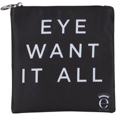 Eyeko Eye Want It All Cosmetics Case (£20) ❤ liked on Polyvore featuring beauty products, beauty accessories, bags & cases, bags, fillers, accessories, makeup, black fillers, magazine and make up bag