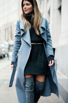 Pam Hetlinger, The Girl From Panama wearing a H&M grey sweater dress, stuart weitzman highland over-the-knee-boots, and a missguided grey belted coat.