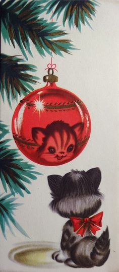 1950s cat Christmas card
