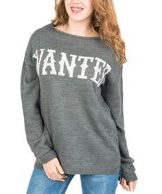 Look at this #zulilyfind! Gray Mélange 'Wanted' Sweater by Polkadot #zulilyfinds