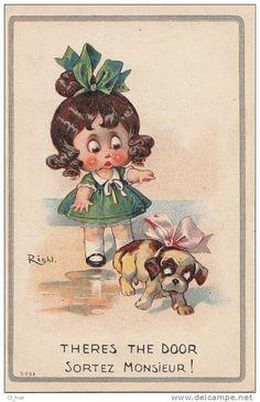 """Belle CPA Illustrateur Signé RIGHT Fillette Et Petit Chien Au Noeud Rose """" Sortez Monsieur ! """""""