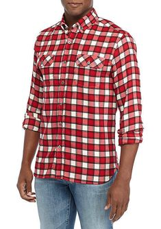 Buffalo Plaid Flannel Shirt Large Red Stretch Lumberjack Rockabilly Men New Best Flannel Shirts, Mens Flannel Shirt, Plaid Flannel, Flannel Clothing, Flannel Outfits, Hipster Style, Hipster Fashion, Winston Red, Rockabilly Men