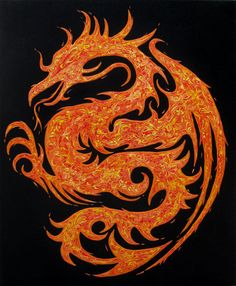 ON SALE Fire Dragon  Original Painting on by theartofthematrix, $189.00 - would be a cool tattoo