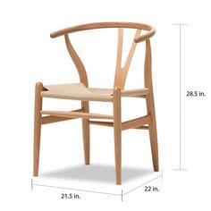 Baxton Studio Brown Wood Dining Chair with Hemp Seat