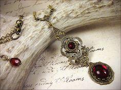 Tudor Red Medieval Necklace Garnet Renaissance by AfterDark, $26.00
