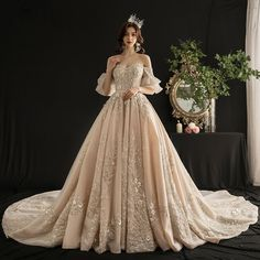 Luxury / Gorgeous Champagne Wedding Dresses 2019 A-Line / Princess Off-The-Shoulder Bell sleeves Backless Appliques Lace Sequins Beading Tassel Cathedral Train Ruffle Princess Wedding Dresses, Dream Wedding Dresses, Bridal Dresses, Prom Dresses, Vintage Wedding Gowns, Vintage Ball Gowns, Tulle Wedding Gown, Luxury Wedding Dress, Backless Wedding