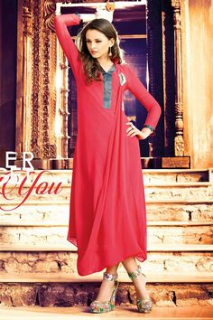 Tempting Red Color Georgette #Kurti to buy.
