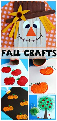 Fall Crafts for Kids to Make! Find pumpkins, apples, scarecrows, fall trees and…