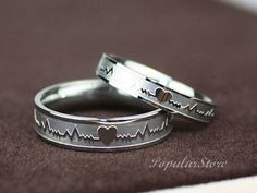 2pcs Titanium Electrocardiogram Promise Rings, Couple Rings, Wedding … #idea gift for girlfriend