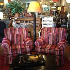We're expecting a lot of cool new items today, the first delivery just arrived! #swivelchairs $349 each #funstripes #accent #multicolor #bold #consignment #preloved #rebound http://www.reboundstores.com/#!seating/c1ndz