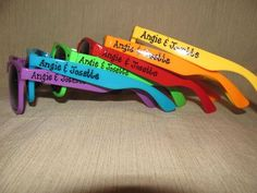 Set of 6 Rainbow Wedding favor personalized sunglasses for outside ceremony/reception/photo booth/beach wedding on Etsy, $33.00 wedding parties, party favors, wedding favors, beach wedding reception ideas, rainbow wedding ideas, person sunglass, beach bridesmaid gifts, bridal parties, favor person