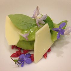 White chocolate, sorrel sorbet and edible flowers