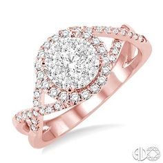 3/4 Ctw Lovebright Round Cut Diamond Engagement Ring in 14K Rose and White Gold