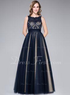 Vestidos princesa/ Formato A Decote redondo Chá comprimento Tule Charmeuse Vestido de baile com Bordado Lantejoulas Curvado (018046233) - Dr...