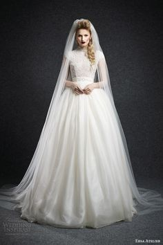 ersa atelier bridal fall 2015 sibyla cap sleeve ball gown wedding dress