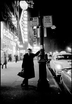 James Dean, Broadway & 50th, looking uptown, 1955, by Dennis Stock (Note: Hector's was a popular hangout with Beat writers like Jack Kerouac)