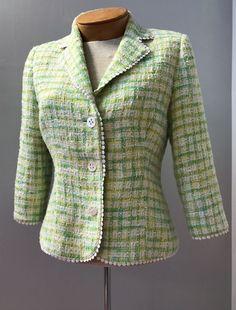 Lilly Pulitzer Green And Yellow Cotton Tweed Preppy Work Causal Blazer Size 4 #LillyPulitzer #Blazer