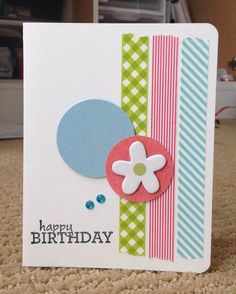 Birthday card made with dollar store washi tape