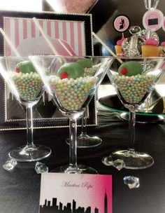 "Fabulous Chanel & Sex and the City Dessert Table – Pearl filled martini glasses with chocolate ""olive"" cake pops"