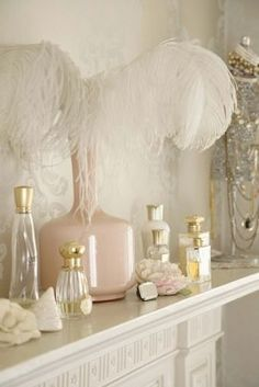 Perfume has long been part of our beauty and fashion history - learn more about choosing one to suit your style and enjoy our lovely perfume bottle photos. Parfum Chic, Antique Perfume Bottles, Shabby Chic, Delicate, Home Decor, Ostrich Feathers, White Feathers, Vignettes, Dressing Rooms