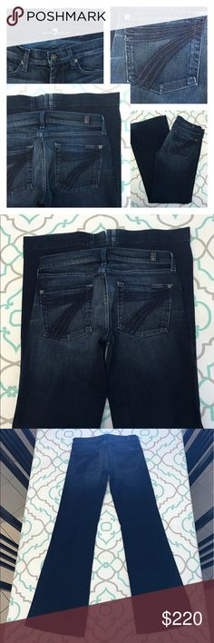 """💙👖Gorgeous 7 FAM Dojos👖💙27 3/4 32"""" Nice Fading 💙👖Gorgeous 7 For All Mankind Dojos👖💙 Size 27 (3/4). 32.25"""" Inseam. 7.5"""" Rise. 15"""" Across Back. Some Stretch. Pretty Dark Blue Wash. Medium Heavy Fading. Navy 7's. Hemmed. Flattering! Wide Leg Jeans! Absolutely Lovely! Beautiful! 7 FAM! Dojos!!! Anthro! Anthropologie! Ask me any questions! : ) 7 For All Mankind Jeans Flare & Wide Leg"""