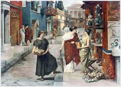 Raffaele Giannetti (Italian, 1832-1916) «Selling flowers on a Roman street»