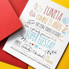 le pou - invitaciones y tarjetas - cumple 15                                                                                                                                                                                 Más Visual Communication Design, Sweet 15, Ideas Para Fiestas, Fiesta Party, 15th Birthday, Party Invitations, Party Time, Diy And Crafts, Birthdays