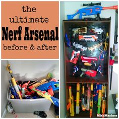 Nerf Gun Pegboard Storage Wall with Glowing EL Wire - Teen Boy - White Walls