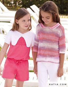 pattern knit crochet kids jacket spring summer katia 6920 6 g Knitting For Kids, Crochet For Kids, Crochet Baby, Knit Crochet, Summer Kids, Spring Summer, Pull Rose, Summer Books, Kids Fashion