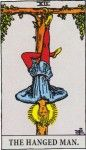 Hanged Man has the same strange illustration in most decks: hung upside-down. It illustrates the upside-down, hair-on-fire feeling you have when eureka happens to you: Duh! I knew that all along. It means a thought striking, a vision, a realization, to know. It's something your subconscious was aware of and reminded you. 'Coulda had a V8.' Enlightenment.