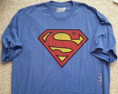 new$15 SUPERMAN T-SHIRT Heather Blue Letter-S Tee MENS XXL 2XL 2X DC Comics NWT #OldNavy #GraphicTee
