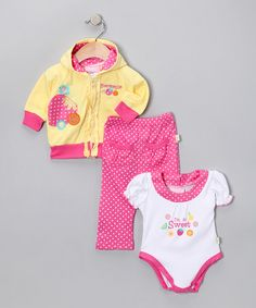 Take a look at this Yellow & Pink Polka Dot Strawberry Hoodie Set - Infant by Blow-Out on #zulily today!#zulily #Fall