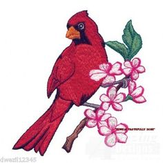 BEAUTIFUL CARDINAL BIRD - 2 EMBROIDERED HAND TOWELS by Susan