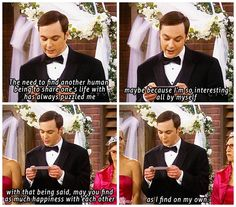 Sheldon Cooper Wedding Speech. Poor Amy. Look at her face in the last pane.