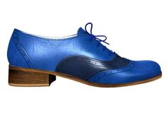 Blue Brogues, Electric Blue, Leather Material, Leather And Lace, Oxford Shoes, Navy Blue, Beige, Heels, Etsy