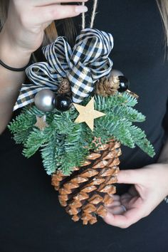 Christmas is a special time... Let the decorations create a magical Christmas spirit in your house... This listing is for Large Pine Cone Christmas Ornament. This arrangement will look great wherever you hang it above the fireplace or stairs. Why not hang it on the door frames or in the windows! It can work as a unique gift for friends and family! I would be happy to send your gift directly to the recipient with a message included from you. Materials used: pine cone, matching ribbon, FRE...