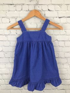 c58b10ada4b3 MINI BODEN Girl s Corduroy Jumper Purple Button Back Ruffle Bottom Dress Sz  4-5Y