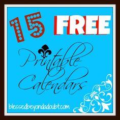 15 Free Printable Calendars