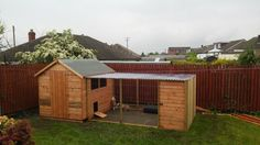 Fab outdoor rabbit enclosure. A shed with an aviary style run attached.