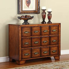 Easy DIY with a dresser with more than the average number of drawers and card catalog pulls